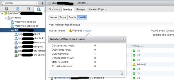 VDS Status in vSphere Web Client