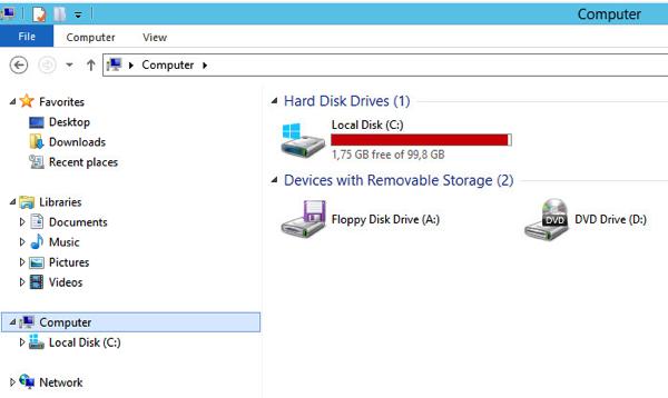 Windows 2012 C: drive almost full