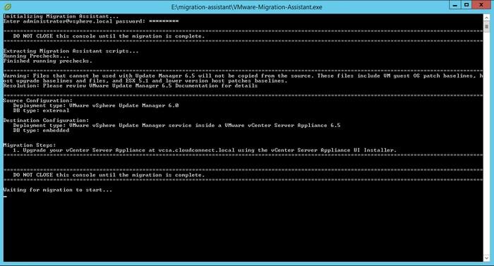 Run the migration assistant on the VUM server