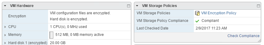VM summary page with encryption information